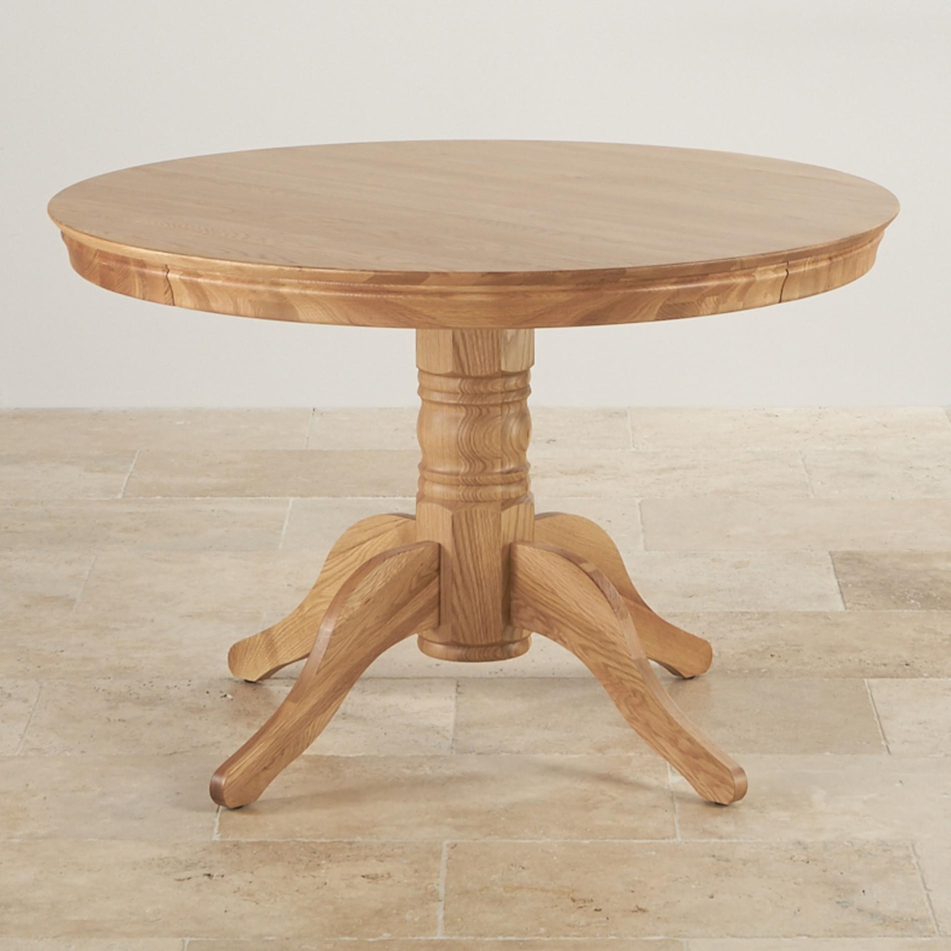 4ft Pedestal Round Table in Natural Oak  Oak Furniture Land