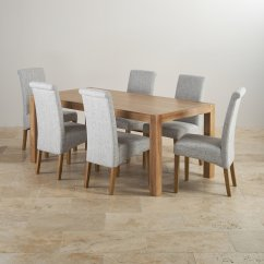 Grey Fabric Oak Dining Chairs Diy Rocking Chair Cushion Cover Alto Solid 6ft Table With 6