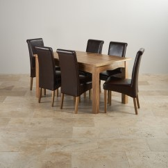 Dining Table With Leather Chairs Soft Toddler Chair Canada Cairo Extending Set In Natural Oak 43 6