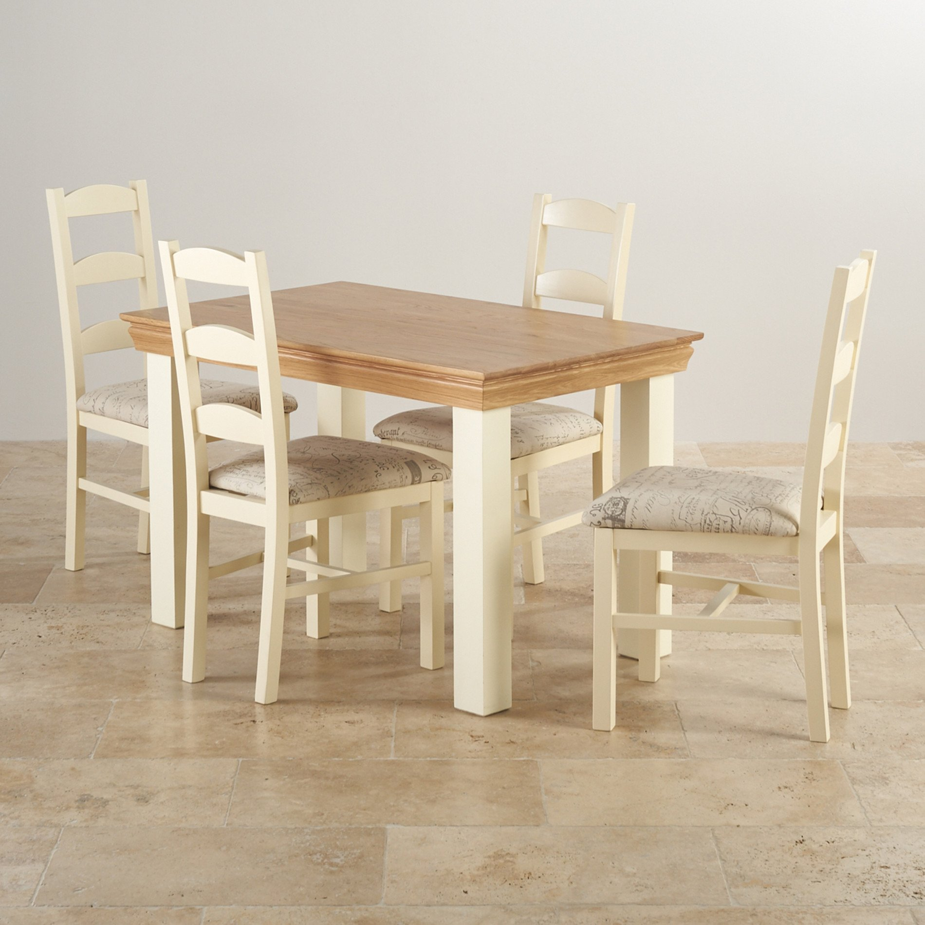 Country Cottage Dining Set in Painted Oak  4ft Table  4