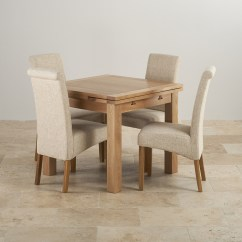 Solid Oak Dining Table And Chairs Directors Chair Replacement Canvas Dorset 3ft With 4 Beige Fabric