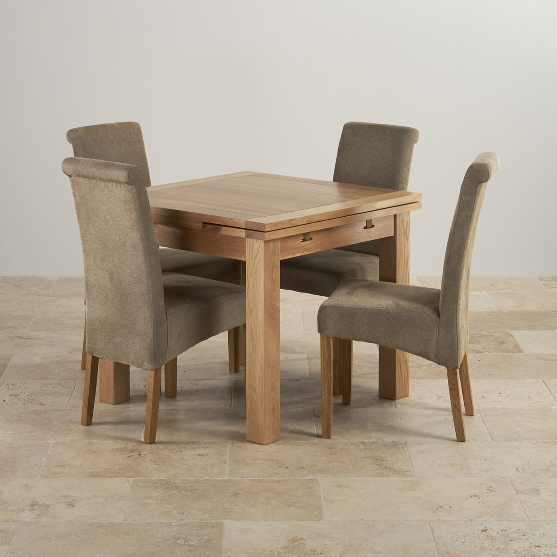 2 Chair Dining Table Dorset Oak 3ft Dining Table With 4 Sage Fabric Chairs