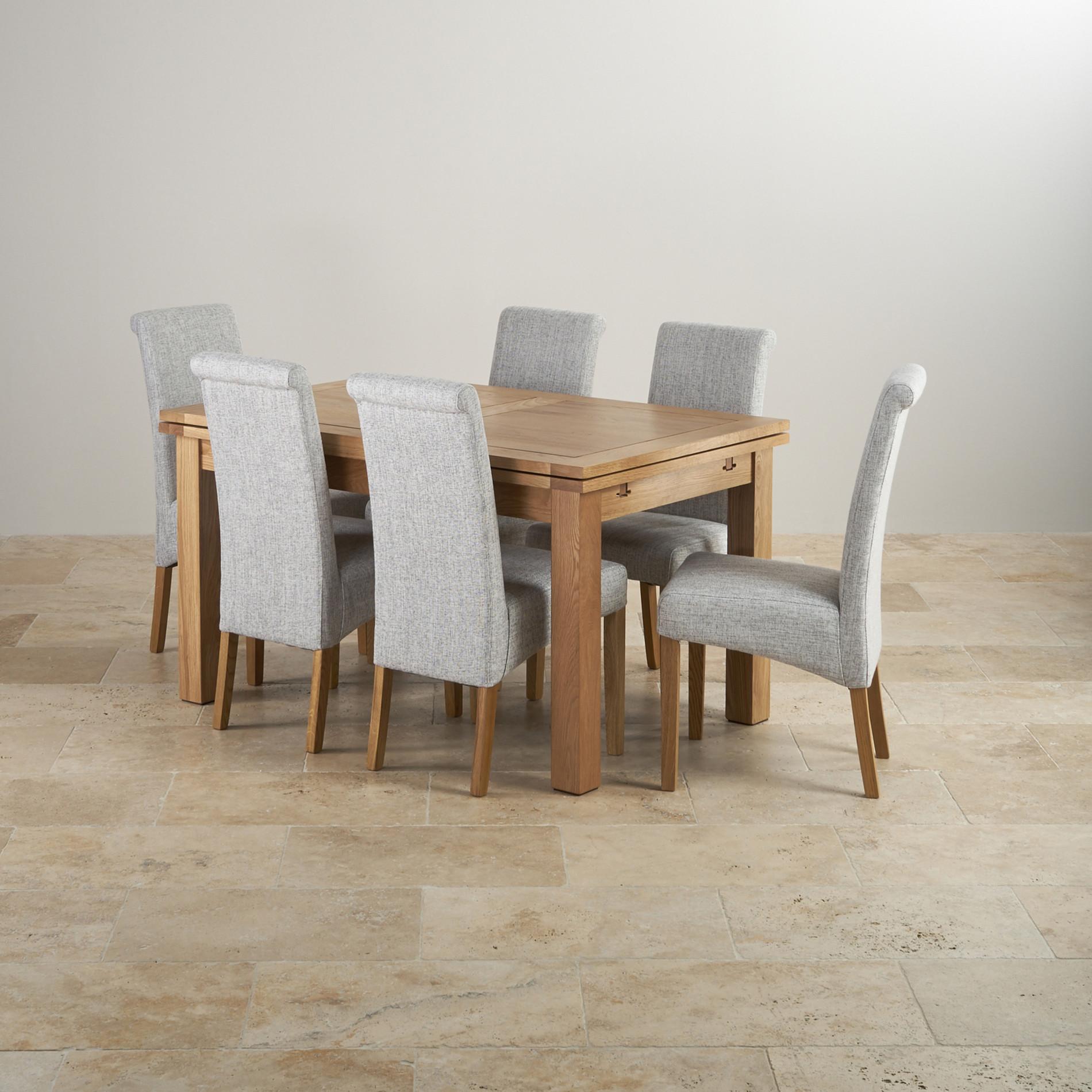 grey fabric oak dining chairs best nursery australia dorset set in extending table 43 6