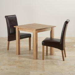 2 Chair Dining Set Painting Metal Folding Chairs Hudson In Natural Oak Table 43 Leather