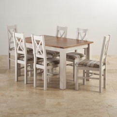 Solid Oak Dining Table And Chairs Wheelchair Unicode Rustic Painted Set With Six