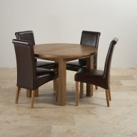 Knightsbridge Round Extending Dining Set: Dining Table + 4 ...