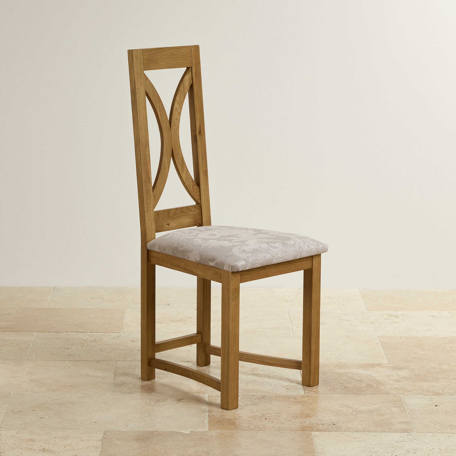 Loop Back Dining Chair in Rustic Oak  Patterned Silver Fabric