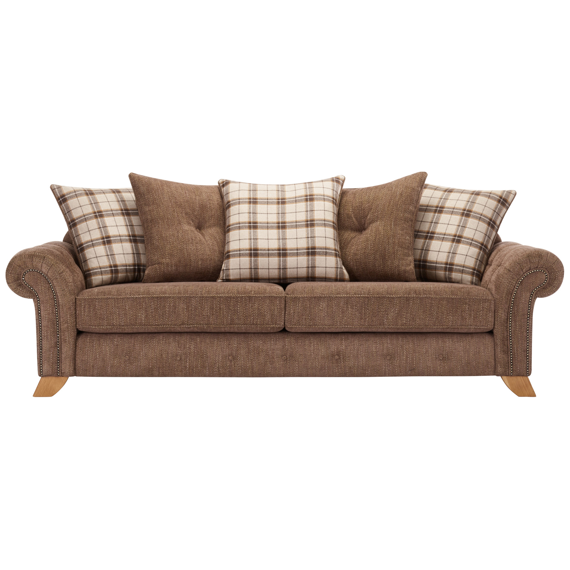 Montana 4 Seater Sofa with Pillow Back in Brown Fabric