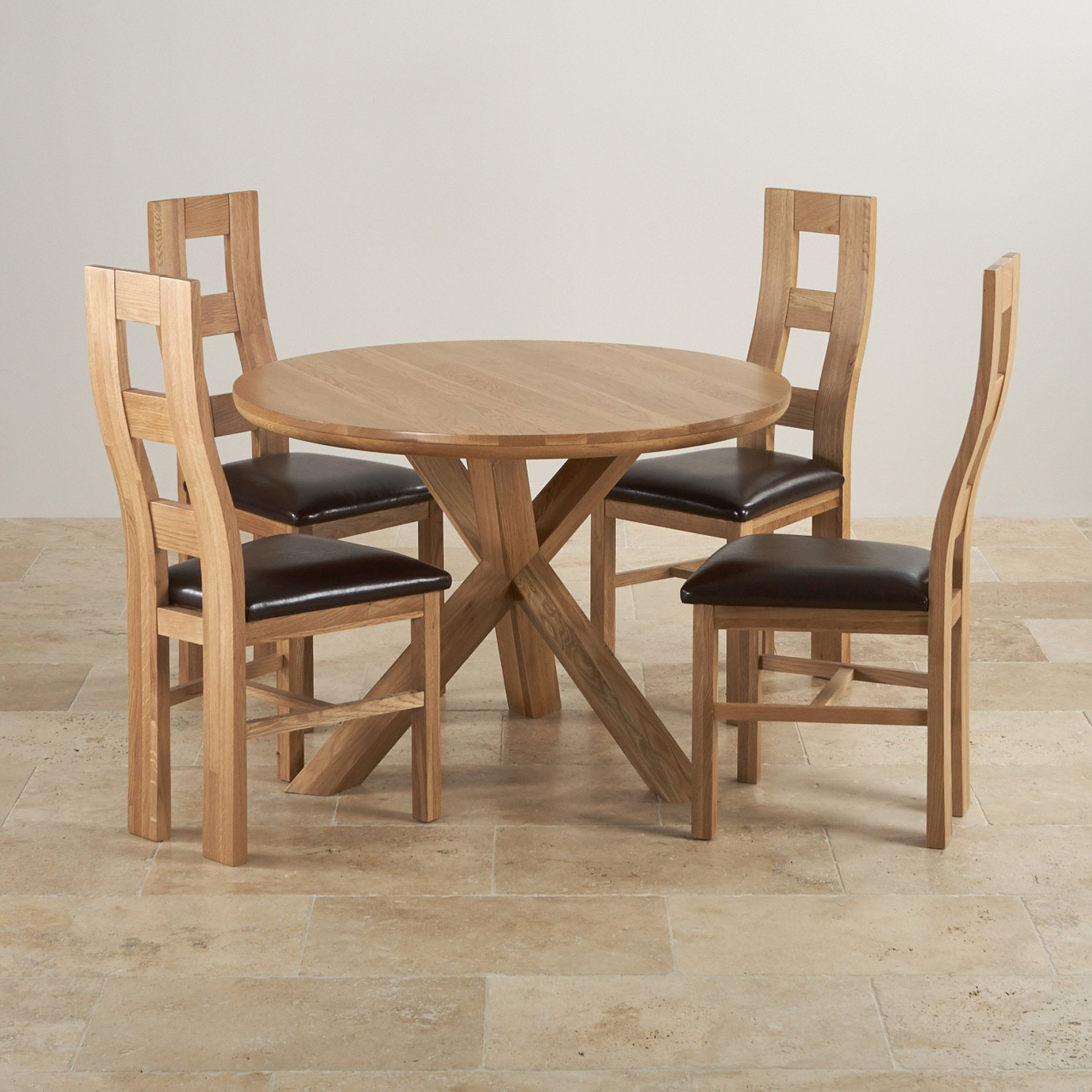 Round Dining Table And Chairs Natural Oak Dining Set 3ft 7 Quot Table 43 4 Wave Back Chairs