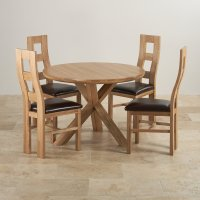 "Natural Oak Dining Set: 3ft 7"" Table + 4 Wave Back Chairs"
