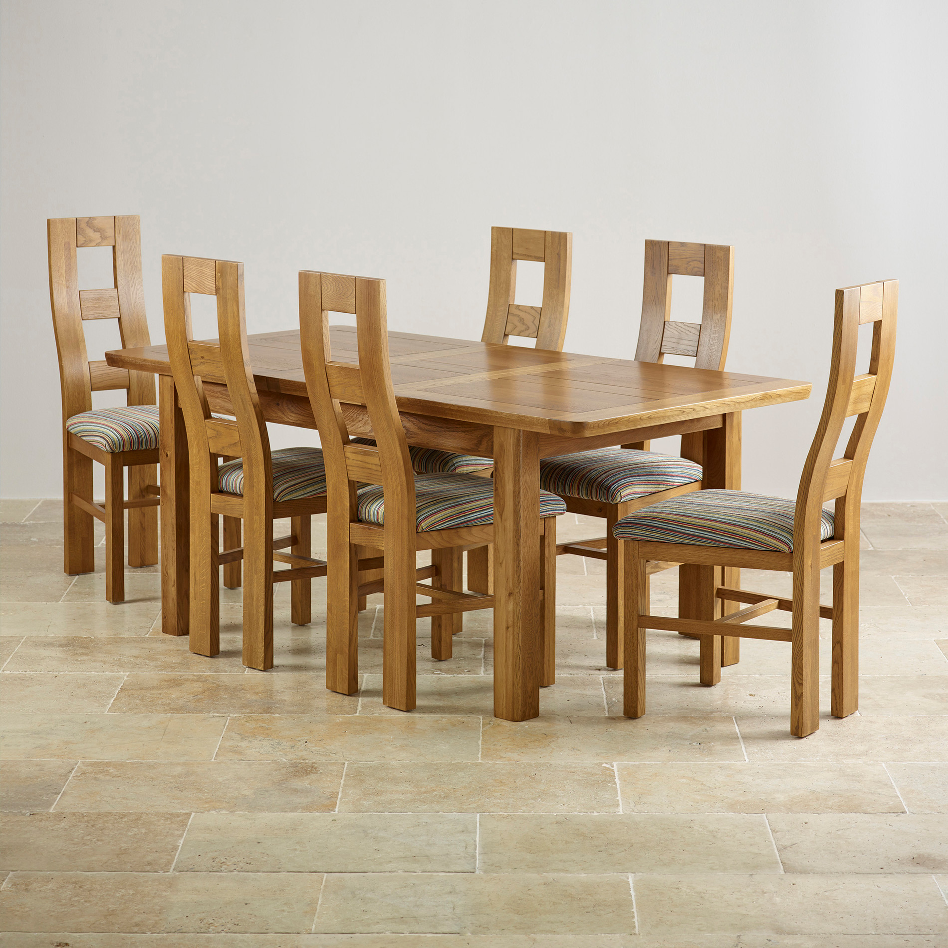 Dining Table And 6 Chairs Orrick Extending Dining Set In Rustic Oak Table 43 6 Beige