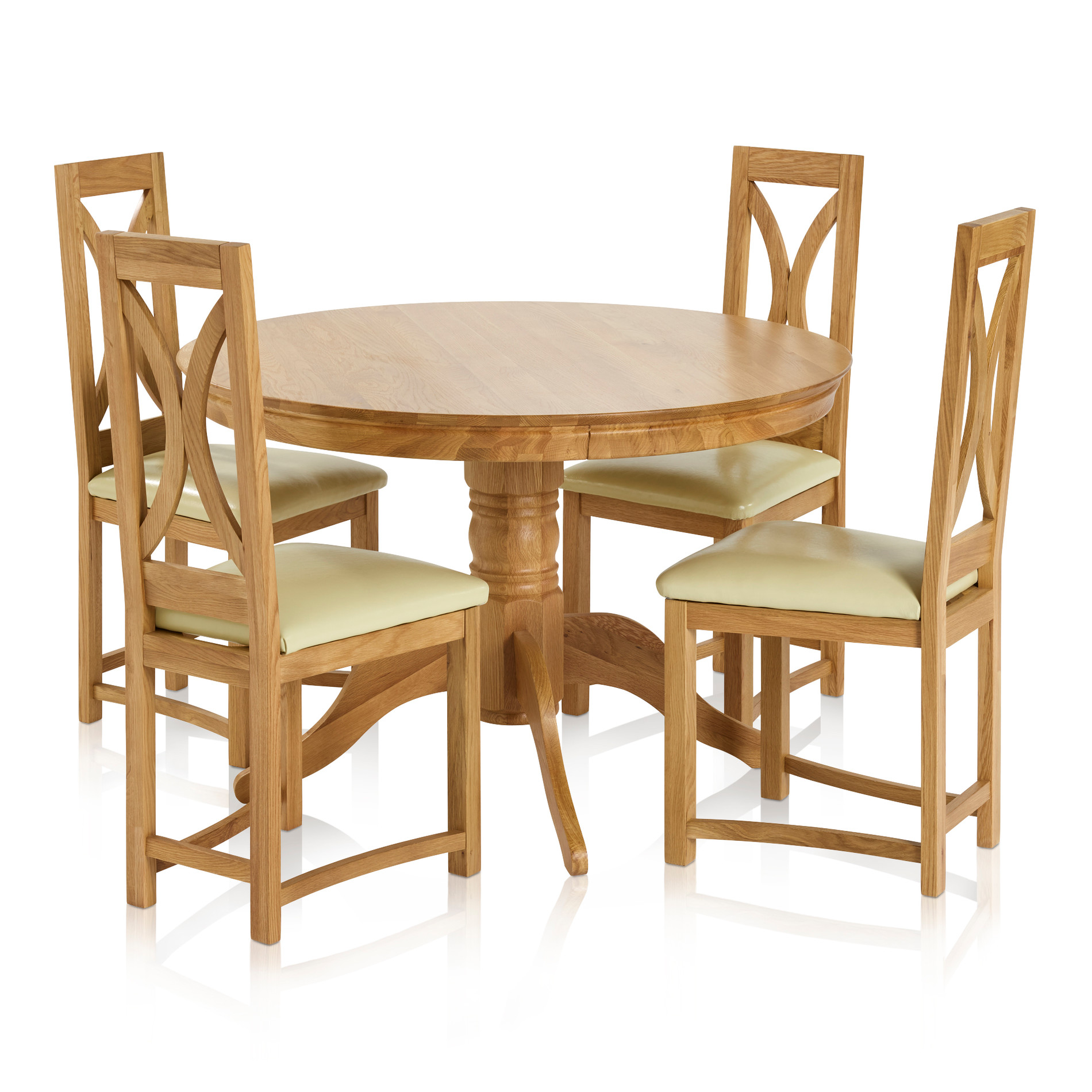 Pedestal Chair Pedestal Natural Solid Oak Dining Set 4ft Round Table With 4 Loop Back And Cream Leather Dining Chair