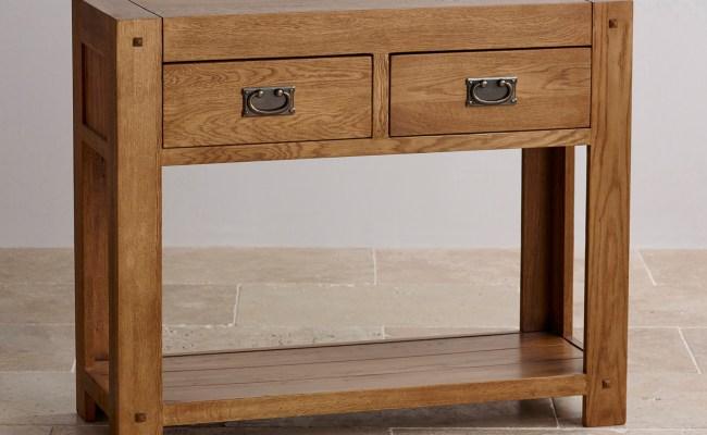Quercus Console Table In Rustic Solid Oak Oak Furniture Land