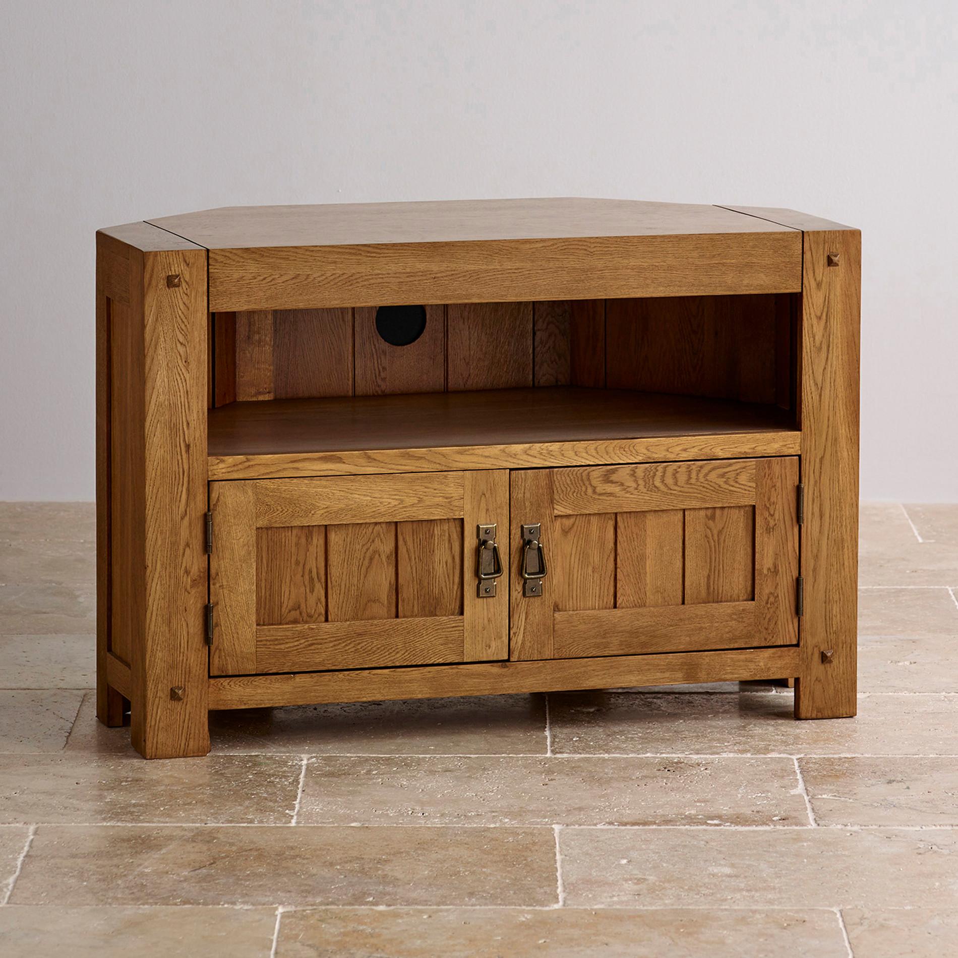 Quercus Corner TV Cabinet in Rustic Solid Oak  Oak