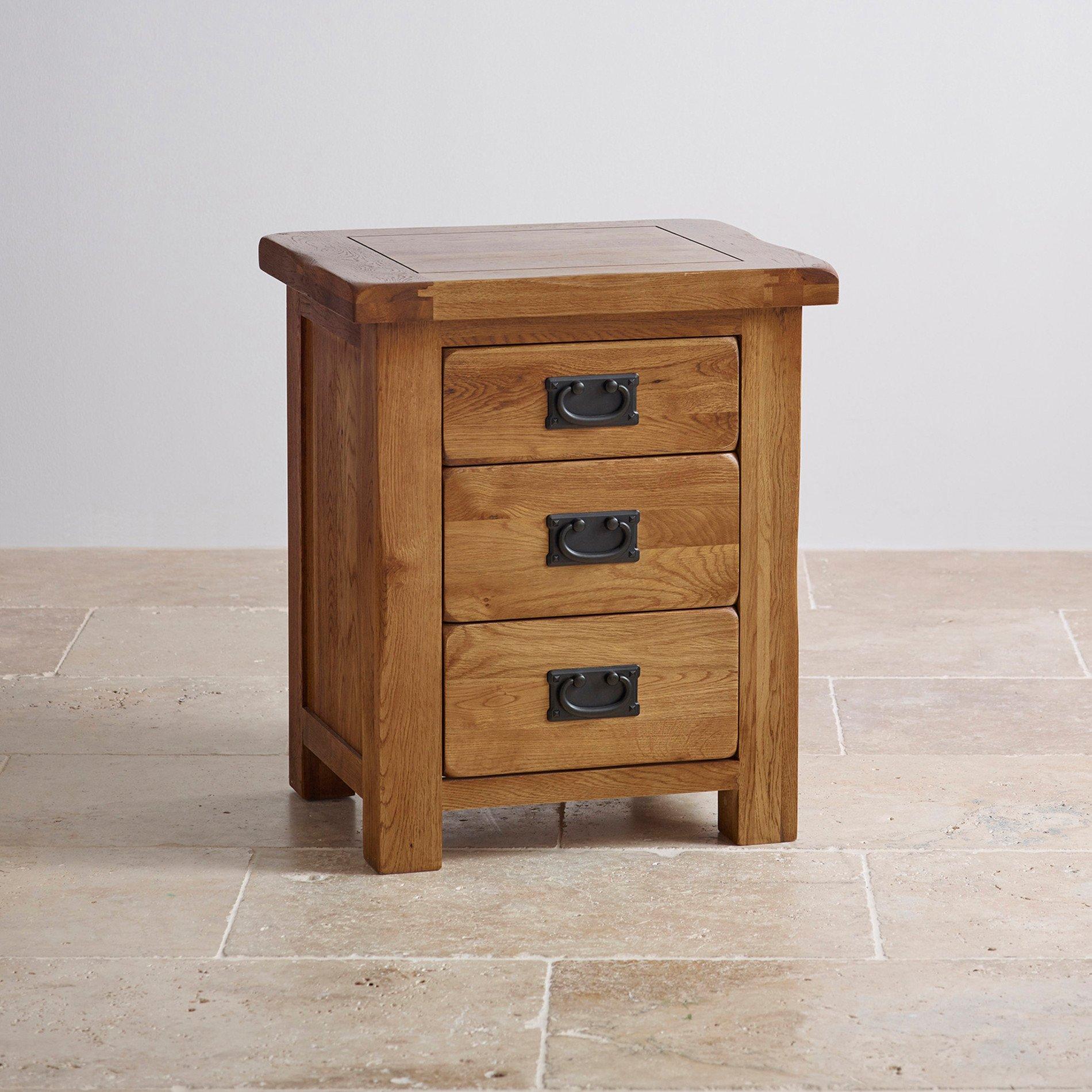 Original Rustic 3 Drawer Bedside Cabinet Oak Furniture Land