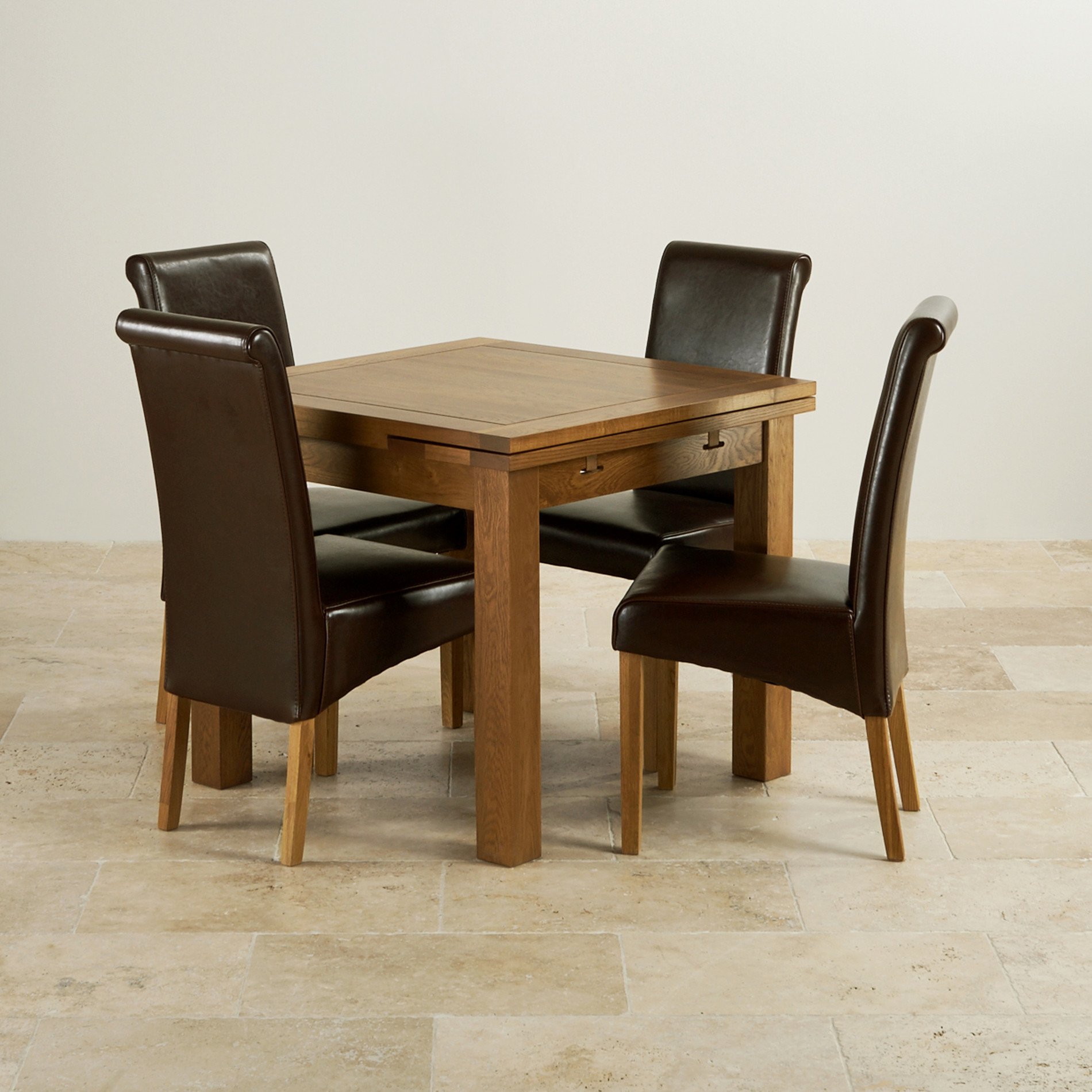 table and 2 chairs cheap chair covers depot rustic oak extending dining set 3ft 43 4 leather