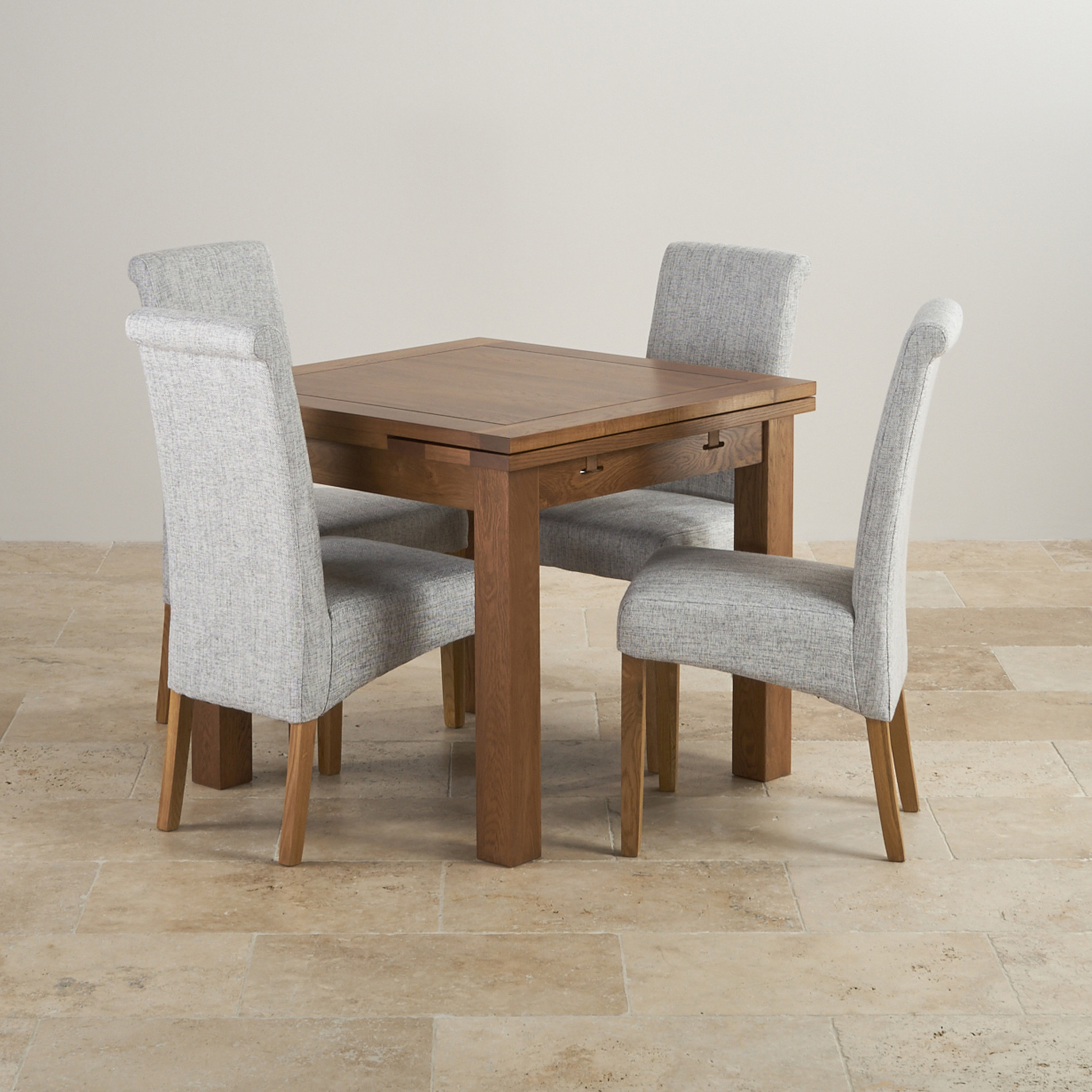Gray Kitchen Chairs Rustic Oak 3ft Dining Table With 4 Grey Fabric Chairs