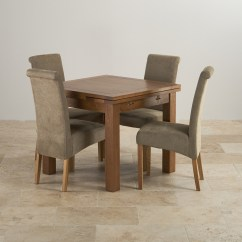 4 Chair Dining Set Football Bean Bag Canada Rustic In Real Oak Extending Table 43 Sage Chairs