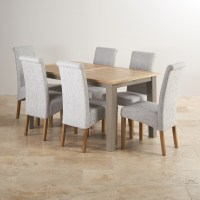 St Ives Light Grey Painted Extending Dining Table + 6 ...