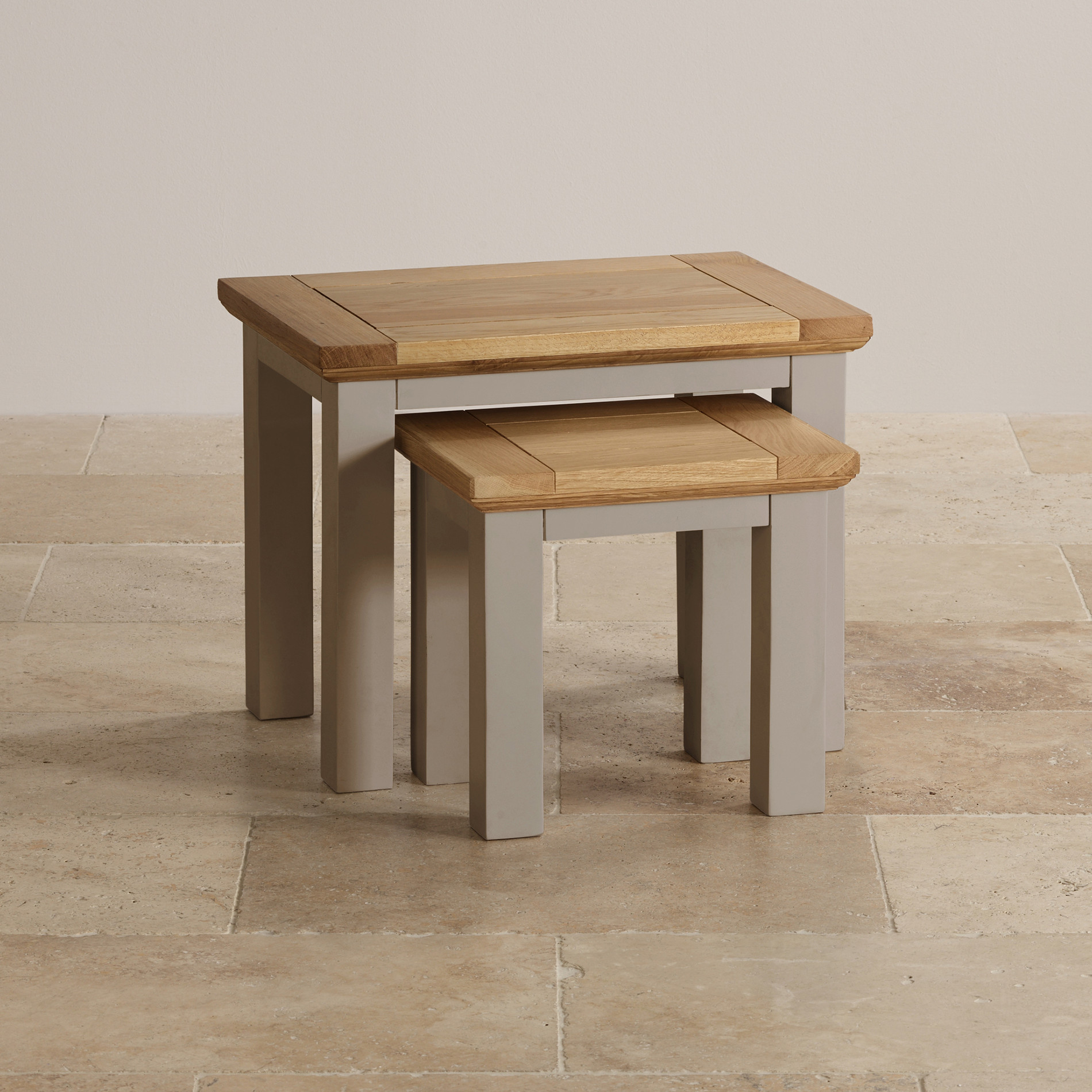Natural Oak And Light Grey Painted Nest Of 2 Tables