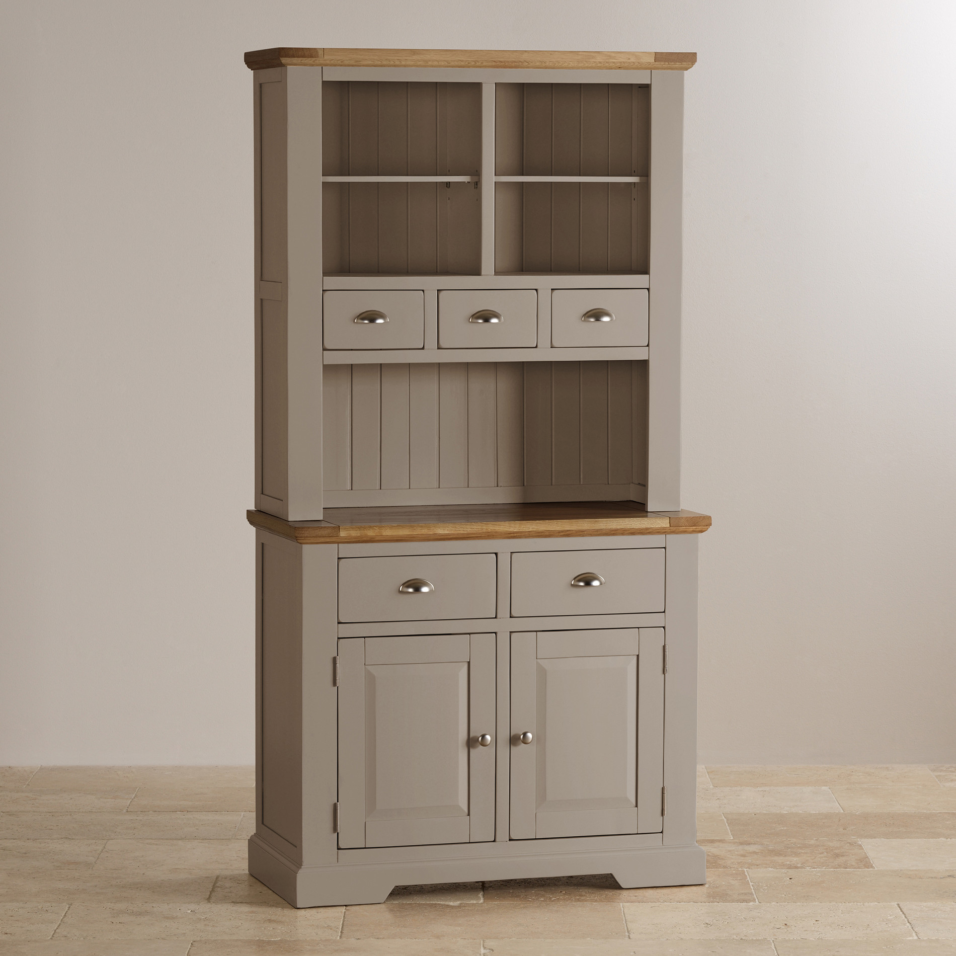 Natural oak and light grey painted small dresser