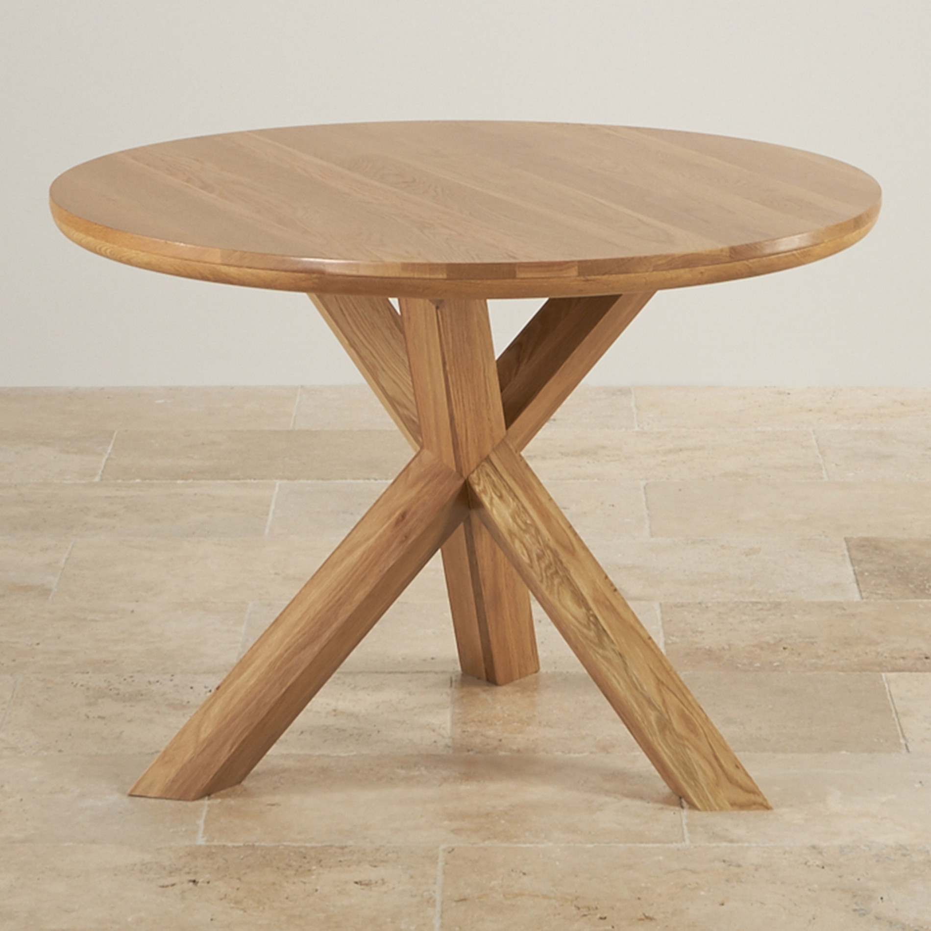 Trinity Natural Solid Oak Round Table with Crossed Legs