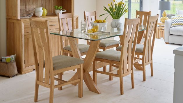 dinner table and chairs revolving chair delhi glass dining sets oak
