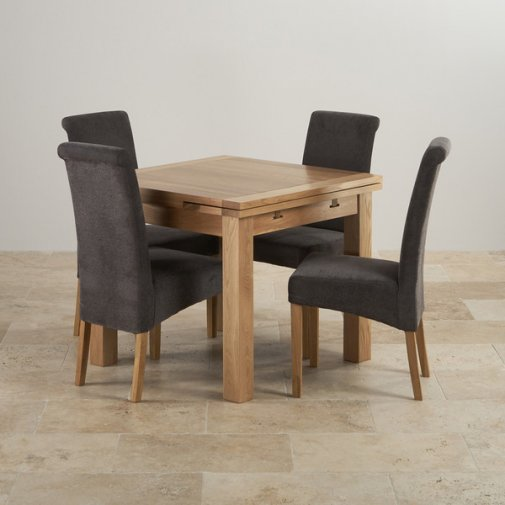 1f6757c3f7 Dorset Oak 3ft Dining Table With 4 Grey Fabric Chairs ...
