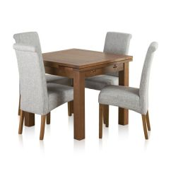 Oak Kitchen Table Simple Island Sherwood Solid Dining Set 3ft Extending With 4 Scroll Back Plain Grey Fabric Chairs Express Delivery