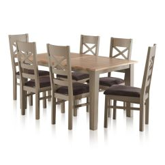 Grey Painted Chairs The Barbers Chair St Ives Natural Oak And 5ft Extending Dining Table 6 Fabric Express Delivery