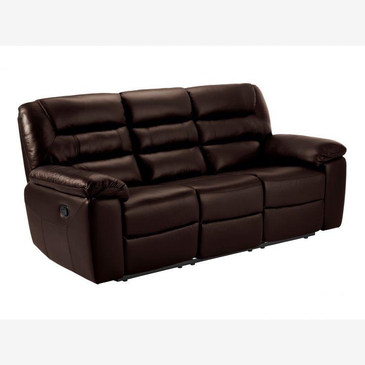 Devon 3 seater Electric Recliner Sofa in 2 Tone Brown