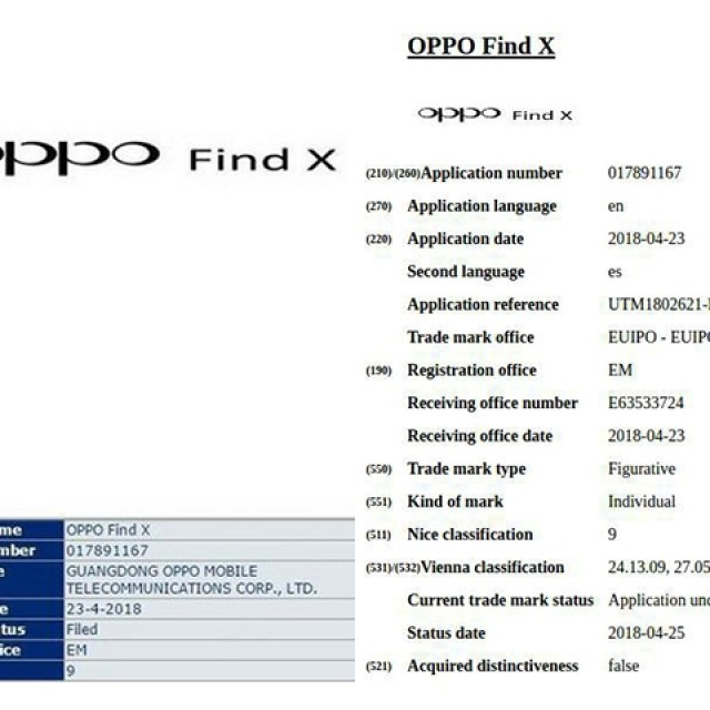 OPPO Find X商標通過 3D感測技術規格可能加入