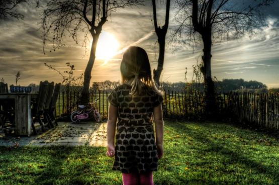 若い女の子の子の自転車裏庭フェンス草の夕焼け雲の木のHDR