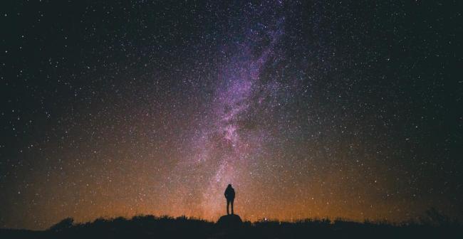 stars galaxy space night dark evening silhouette people