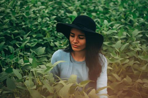 woman girl hat people plants nature fashion model clothing green