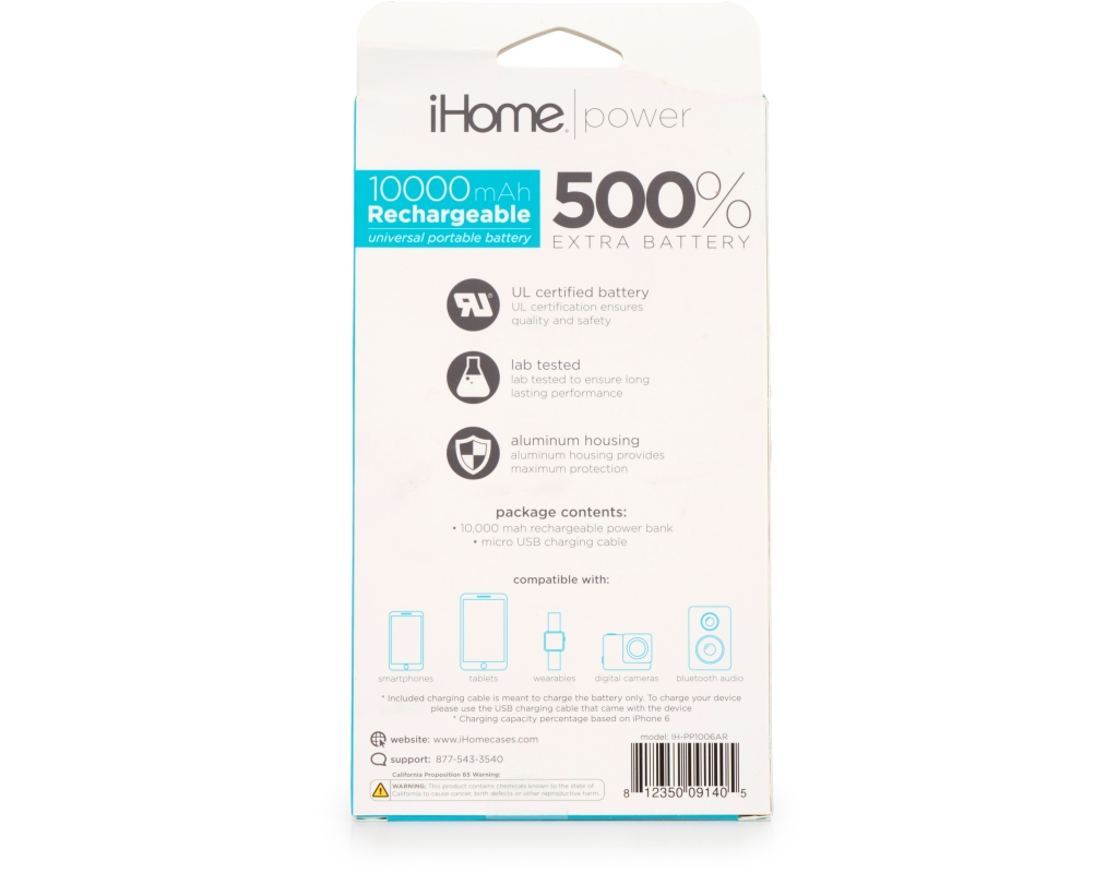 Boxed Ihome Rechargeable Portable Battery 10 000 Mah
