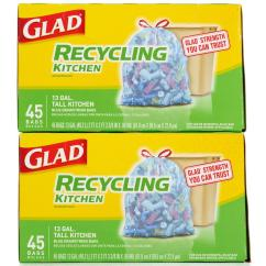 Tall Kitchen Bags Double Sinks For Sale Glad Recycling Drawstring Trash 90 Count 13g Blue Gladrecycling 13 Gallon