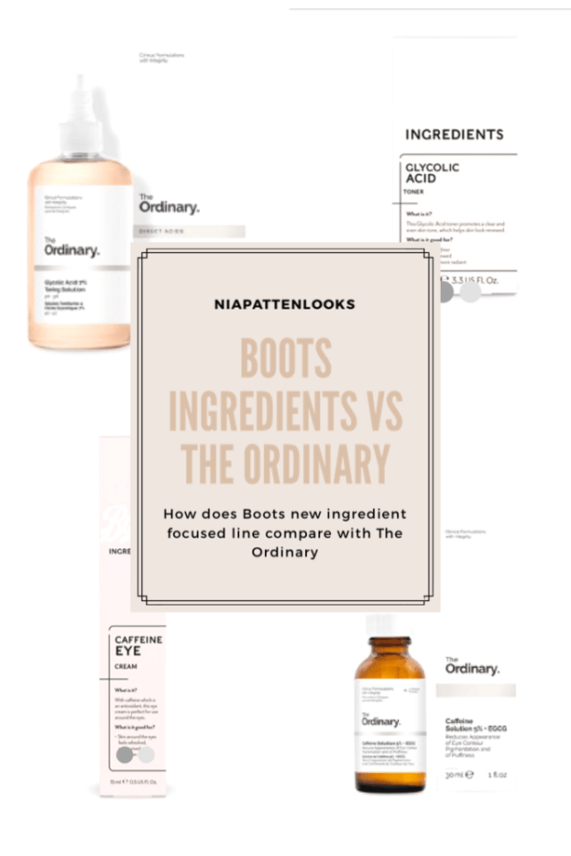 Boots Ingredients Review- How does it Compare to The Ordinary- graphic for Pinterest