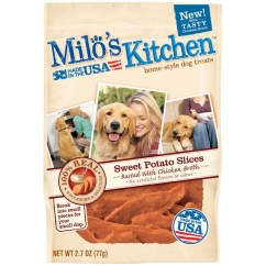 Milos Kitchen High Back Sink Milo S Sweet Potato Slices Basted With Chicken Broth Dog Treats