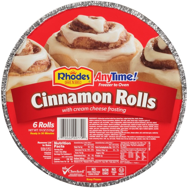 Rhodes Anytime Cream Cheese Frosting Cinnamon Rolls From