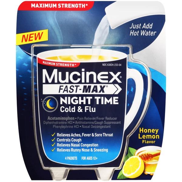Mucinex Fast-Max Maximum Strength Honey Lemon Flavor Night ...