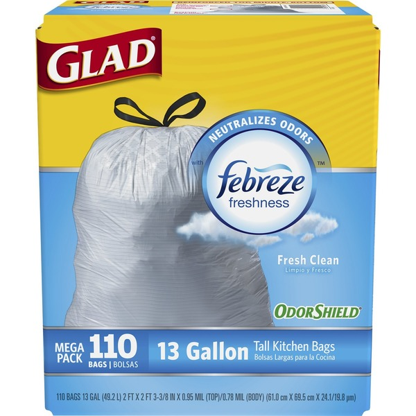 glad tall kitchen drawstring trash bags lowes cabinets sale odorshield febreze fresh clean 13 gallon 110