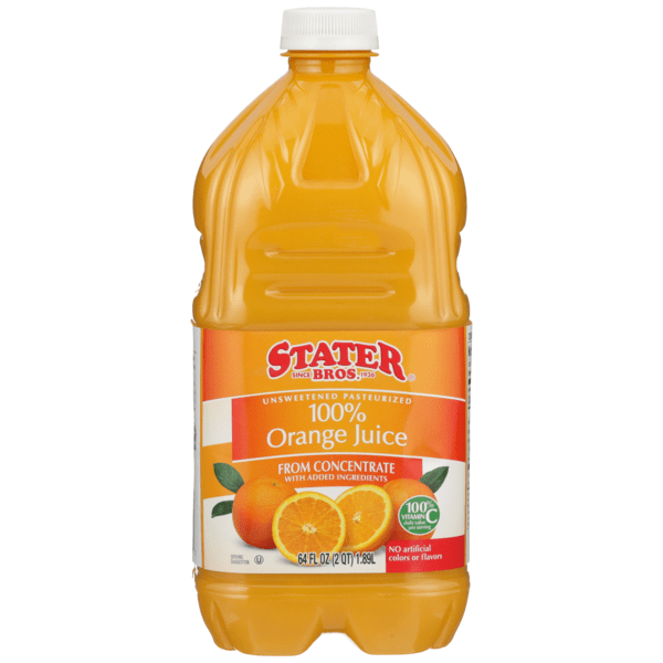 Stater Bros 100% Unsweetened Pasteurized Orange Juice From ...