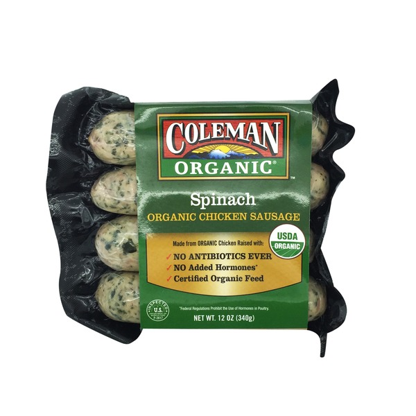 Coleman39s Spinach Organic Chicken Sausage 12 oz from