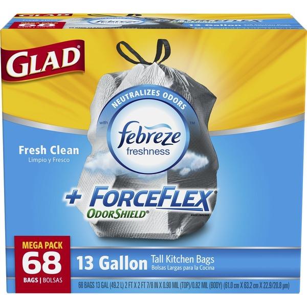 kitchen trash bags wallpaper backsplash glad forceflex odorshield drawstring tall fresh clean 13 gallon 68