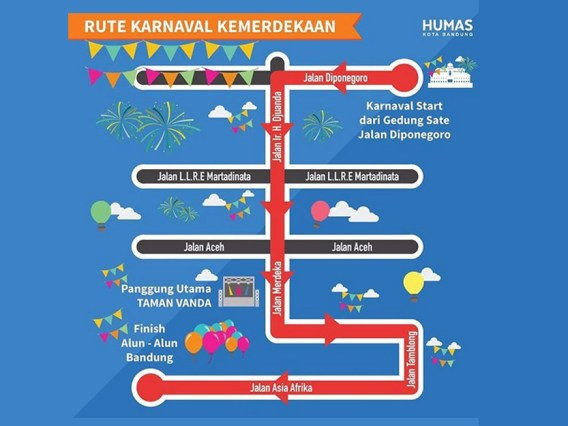 Route map of Karnaval Kemerdekaan