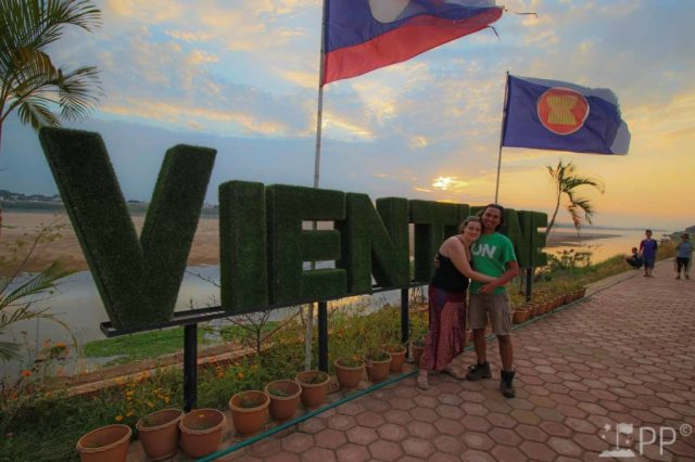 """Outdoor sign """"Vientiane"""" in large grass letters"""