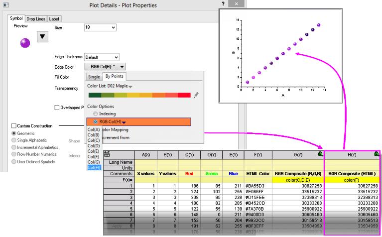 Rgb using color plotg also help online origin  dataset to control plot rh originlab