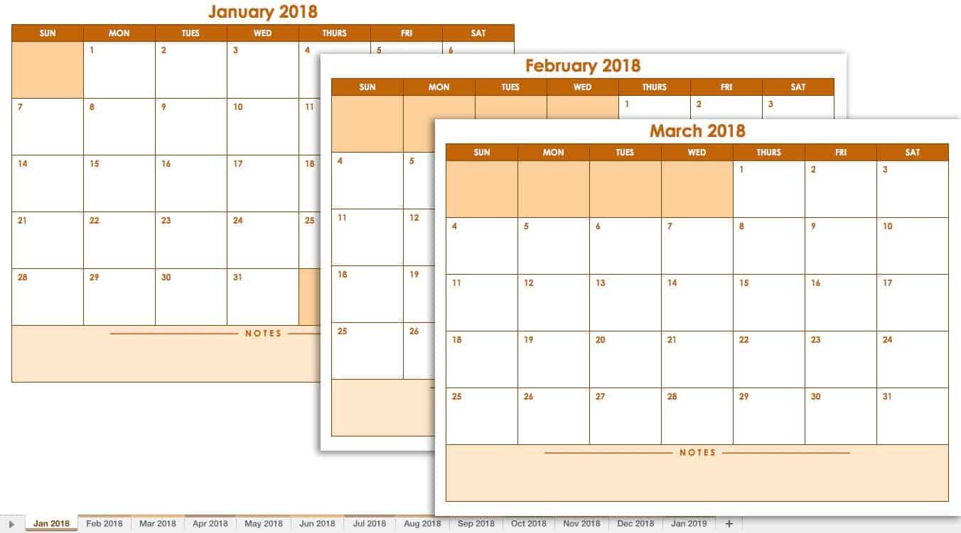 2018 Blank Monthly Calendar Landscape Template