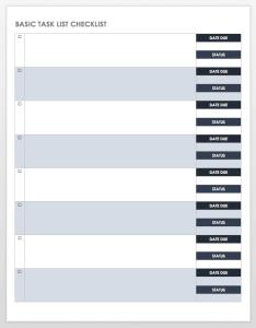 Basic task list checklist template also free and templates smartsheet rh